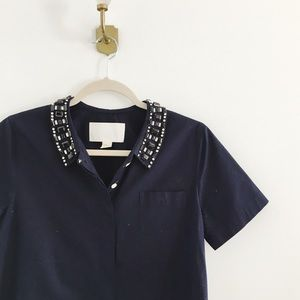 J.Crew Collection Jeweled Embellished Collar Top